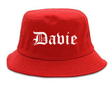 Davie Florida FL Old English Mens Bucket Hat Red