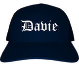 Davie Florida FL Old English Mens Trucker Hat Cap Navy Blue