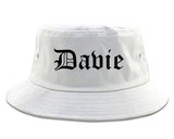 Davie Florida FL Old English Mens Bucket Hat White