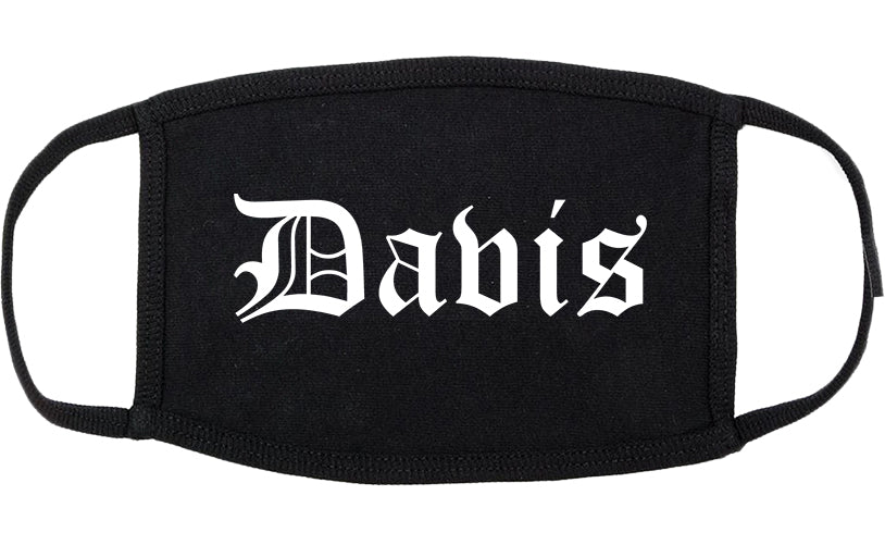 Davis California CA Old English Cotton Face Mask Black