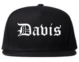 Davis California CA Old English Mens Snapback Hat Black