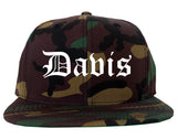 Davis California CA Old English Mens Snapback Hat Army Camo