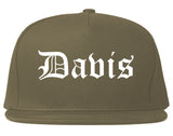 Davis California CA Old English Mens Snapback Hat Grey
