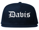 Davis California CA Old English Mens Snapback Hat Navy Blue