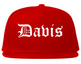 Davis California CA Old English Mens Snapback Hat Red