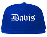 Davis California CA Old English Mens Snapback Hat Royal Blue