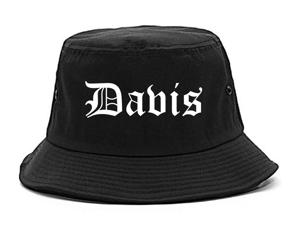 Davis California CA Old English Mens Bucket Hat Black