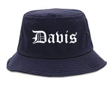 Davis California CA Old English Mens Bucket Hat Navy Blue