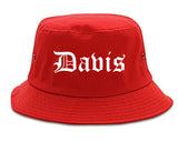 Davis California CA Old English Mens Bucket Hat Red