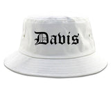 Davis California CA Old English Mens Bucket Hat White