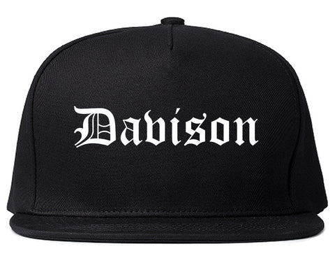 Davison Michigan MI Old English Mens Snapback Hat Black