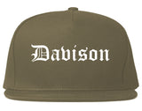 Davison Michigan MI Old English Mens Snapback Hat Grey