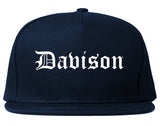 Davison Michigan MI Old English Mens Snapback Hat Navy Blue