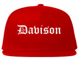 Davison Michigan MI Old English Mens Snapback Hat Red