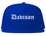 Davison Michigan MI Old English Mens Snapback Hat Royal Blue