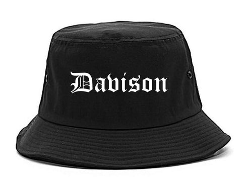 Davison Michigan MI Old English Mens Bucket Hat Black