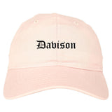 Davison Michigan MI Old English Mens Dad Hat Baseball Cap Pink