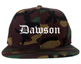 Dawson Georgia GA Old English Mens Snapback Hat Army Camo