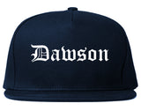 Dawson Georgia GA Old English Mens Snapback Hat Navy Blue