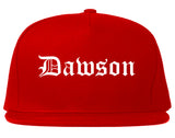 Dawson Georgia GA Old English Mens Snapback Hat Red