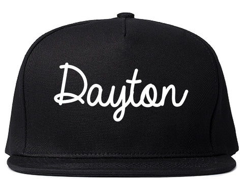 Dayton Ohio OH Script Mens Snapback Hat Black