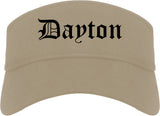 Dayton Ohio OH Old English Mens Visor Cap Hat Khaki