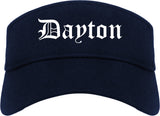 Dayton Ohio OH Old English Mens Visor Cap Hat Navy Blue