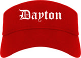 Dayton Ohio OH Old English Mens Visor Cap Hat Red