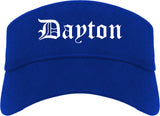 Dayton Ohio OH Old English Mens Visor Cap Hat Royal Blue