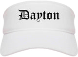 Dayton Ohio OH Old English Mens Visor Cap Hat White