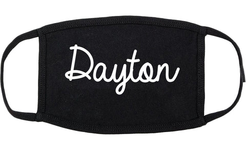 Dayton Texas TX Script Cotton Face Mask Black