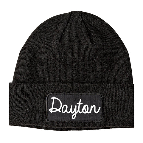 Dayton Texas TX Script Mens Knit Beanie Hat Cap Black