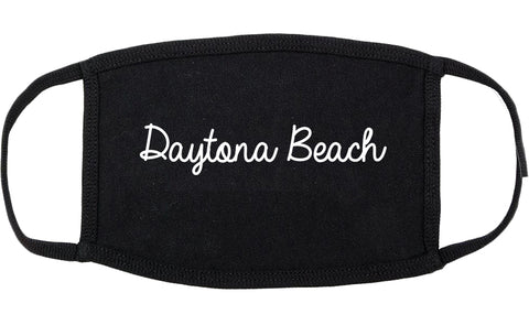 Daytona Beach Florida FL Script Cotton Face Mask Black