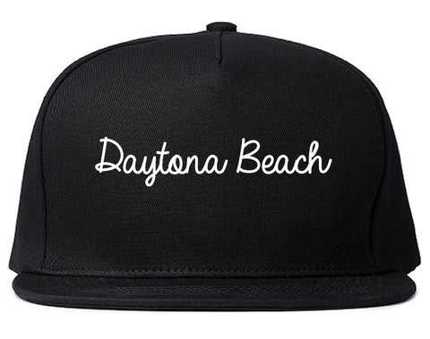 Daytona Beach Florida FL Script Mens Snapback Hat Black