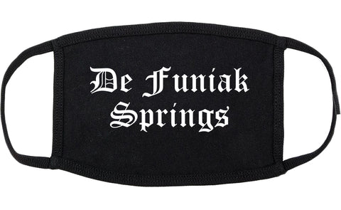 De Funiak Springs Florida FL Old English Cotton Face Mask Black