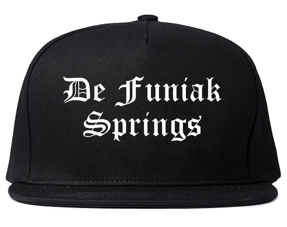 De Funiak Springs Florida FL Old English Mens Snapback Hat Black