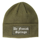 De Funiak Springs Florida FL Old English Mens Knit Beanie Hat Cap Olive Green