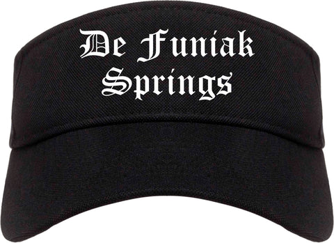 De Funiak Springs Florida FL Old English Mens Visor Cap Hat Black