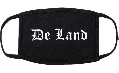 De Land Florida FL Old English Cotton Face Mask Black