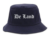 De Land Florida FL Old English Mens Bucket Hat Navy Blue