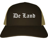 De Land Florida FL Old English Mens Trucker Hat Cap Brown