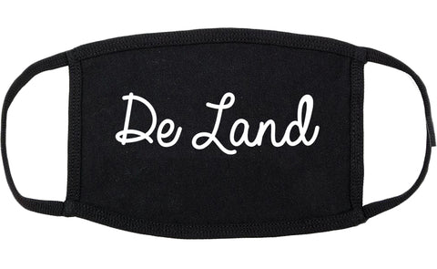 De Land Florida FL Script Cotton Face Mask Black