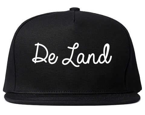 De Land Florida FL Script Mens Snapback Hat Black