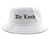 De Land Florida FL Old English Mens Bucket Hat White