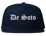 De Soto Kansas KS Old English Mens Snapback Hat Navy Blue