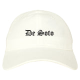 De Soto Kansas KS Old English Mens Dad Hat Baseball Cap White