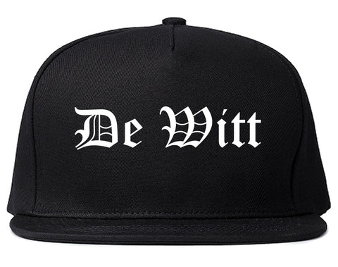 De Witt Iowa IA Old English Mens Snapback Hat Black