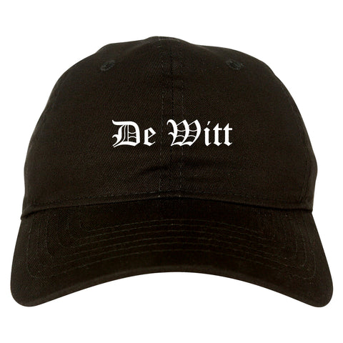 De Witt Iowa IA Old English Mens Dad Hat Baseball Cap Black