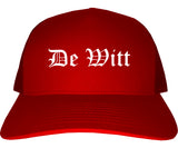 De Witt Iowa IA Old English Mens Trucker Hat Cap Red