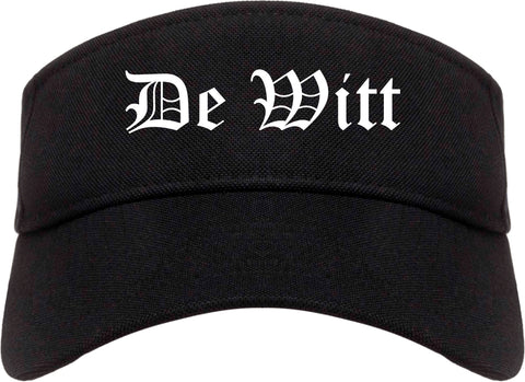 De Witt Iowa IA Old English Mens Visor Cap Hat Black